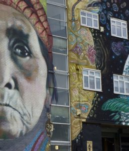 Older native american woman on wall mural